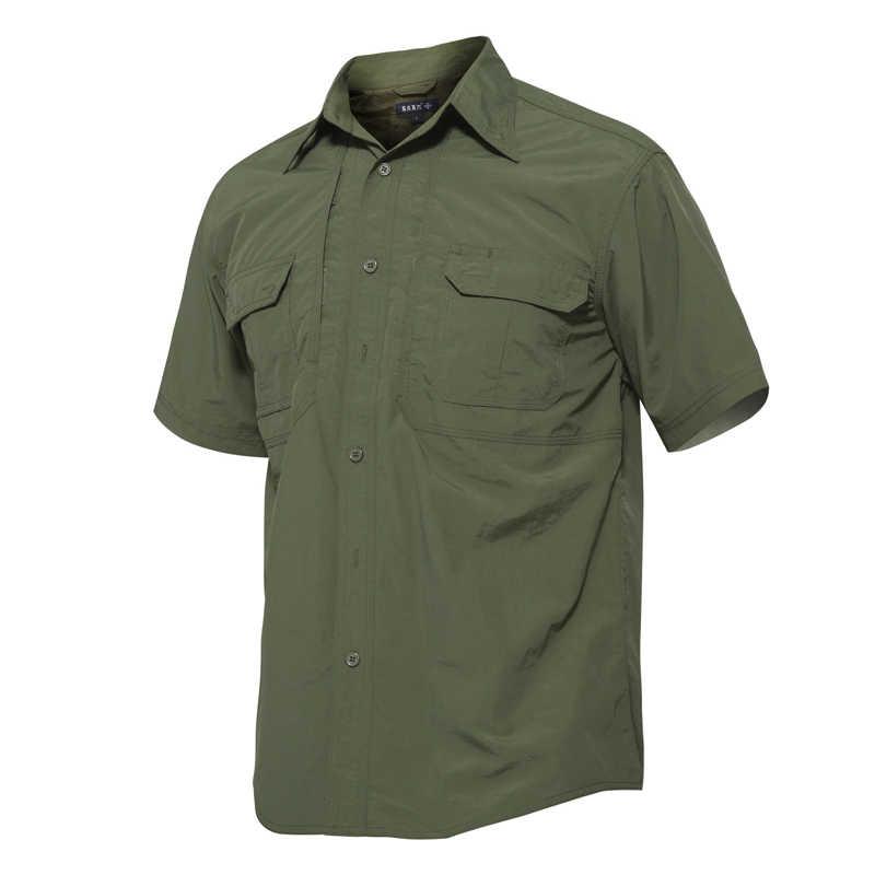 7d9720d8bbc ... MAGCOMSEN Tactical рубашки человек летние шорты рукавом быстросохнущая  в стиле милитари армии Рубашки дышащий работы рубашки ...