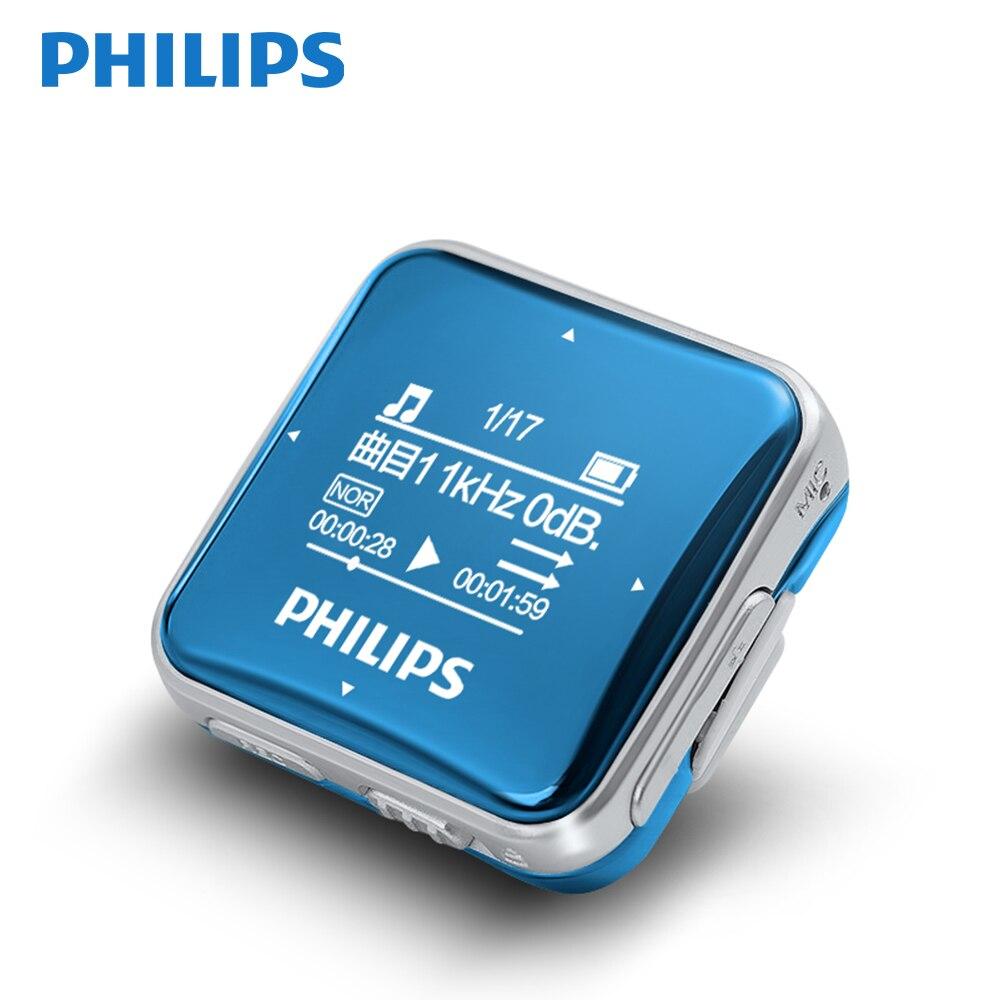Philips Оригинальный мини MP3 плеер Спорт Fullsound большой Экран с Запись Функция/FM радио бег назад Клип Музыка