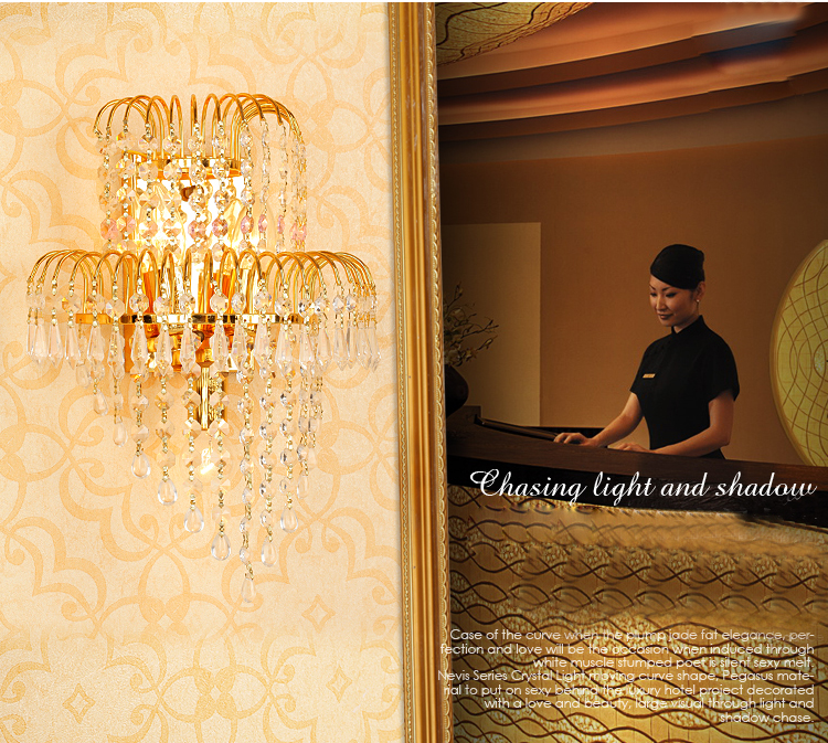 Gold Crystal Wall Lamp Traditional Crystal Wall Lamp Sconce Guaranteed 100%+Free shipping!