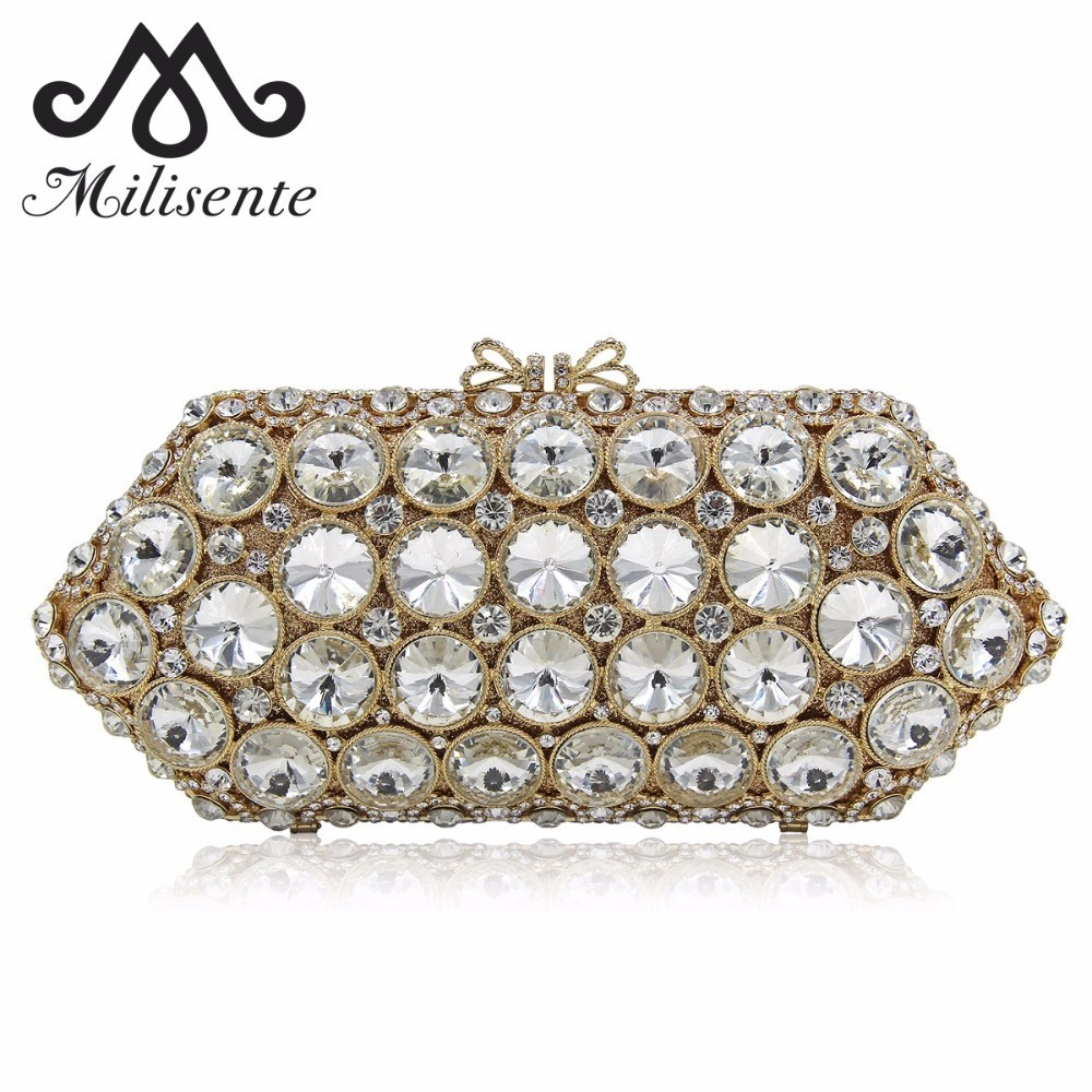 Milisente Women Clutch Crystal Evening Bags White Stone Wedding Purse Party Bag Female Clutches Shoulder Long Chain 2017 luxury designer clutches women gold evening bags long chain tassel shoulder bag wedding party rhinestone clutch purse l897