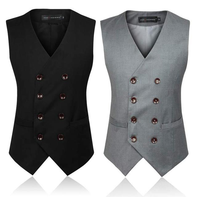 2017 Brand Mens Suits Vest Men Business Casual Vest Double-breasted Men 6XL Business Suit Vest 2 Color Fashion Avaliable MT329