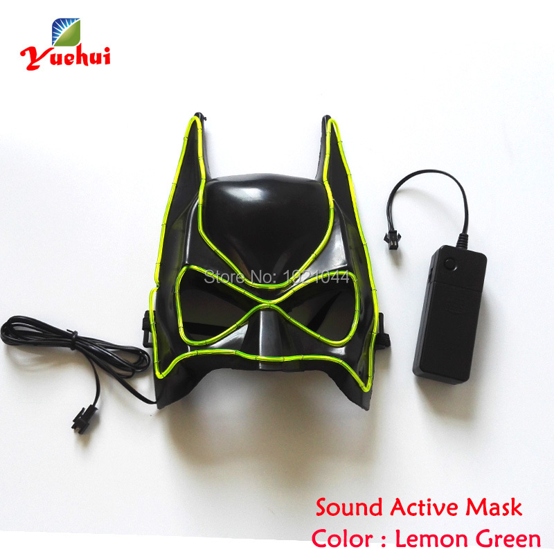 Fashion Carnival Masks Night fluorescent Mask EL Wire Glowing Color Lemon green Event Party Favors powered by 2-AAA Batteries