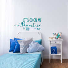 Kids Fashion Quotes Lets go on an Adventure Wall Sticker Trave Theme Nursery Decal Art Vinilos Arrow Mural NY-361