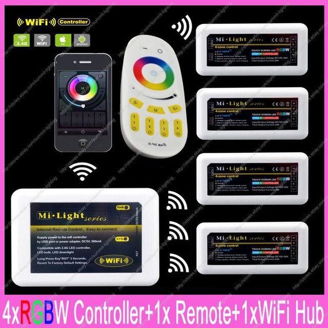 1x 2.4G RF Wireless 4-Zone Touch Remote + 1x WiFi Hub + 4x DC12-24V 10A Mi-light RGBW Controller Complete Set For RGBW Strips