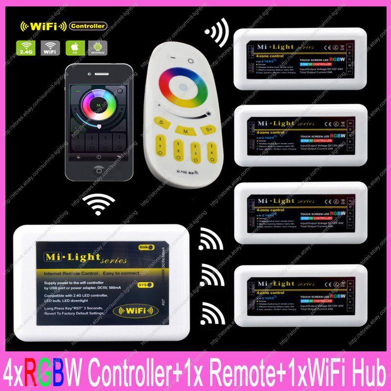 1x2.4G RF Wireless-Zone Remote Touch + 1x WiFi Hub + 4x DC12-24V 10A Mi-luce RGBW Controller Set Completo Per RGBW strisce