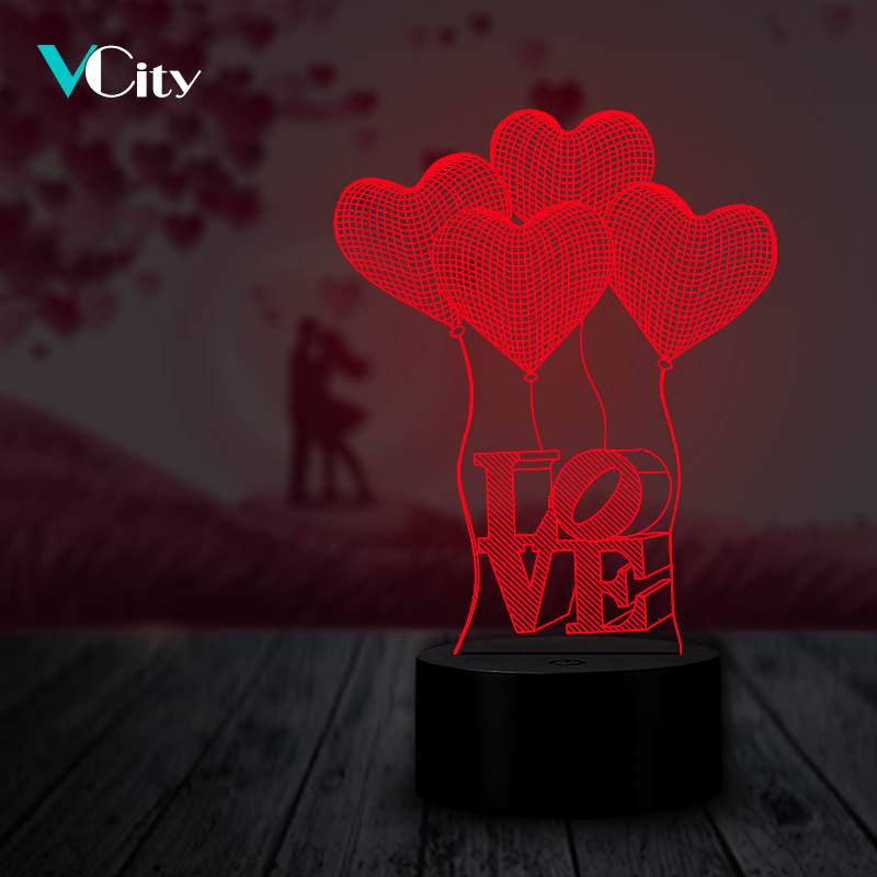 VCity Love Heart 3D Night Light Lamp LED USB Lamp Lighting Luminaria Table Bedside Gifts For Lovers Girlfriend Valentine Present