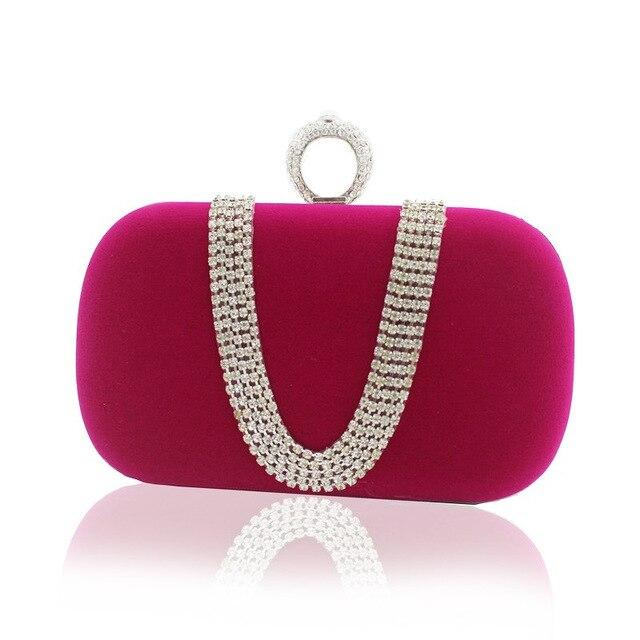 Ladies Clutch Purse Gold Chain Evening Bag Luxury Bling Rhinestone Bridal Wedding Dinner Shoulder Bag Purple Bags SMYCYX-C0066