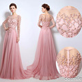 Elie Saab 2017 Long Bridal Evening Dress Illusion Jewel Neck Pearls Sash A-Line Tulle Cheap Celebrity Party Gowns Prom Dress