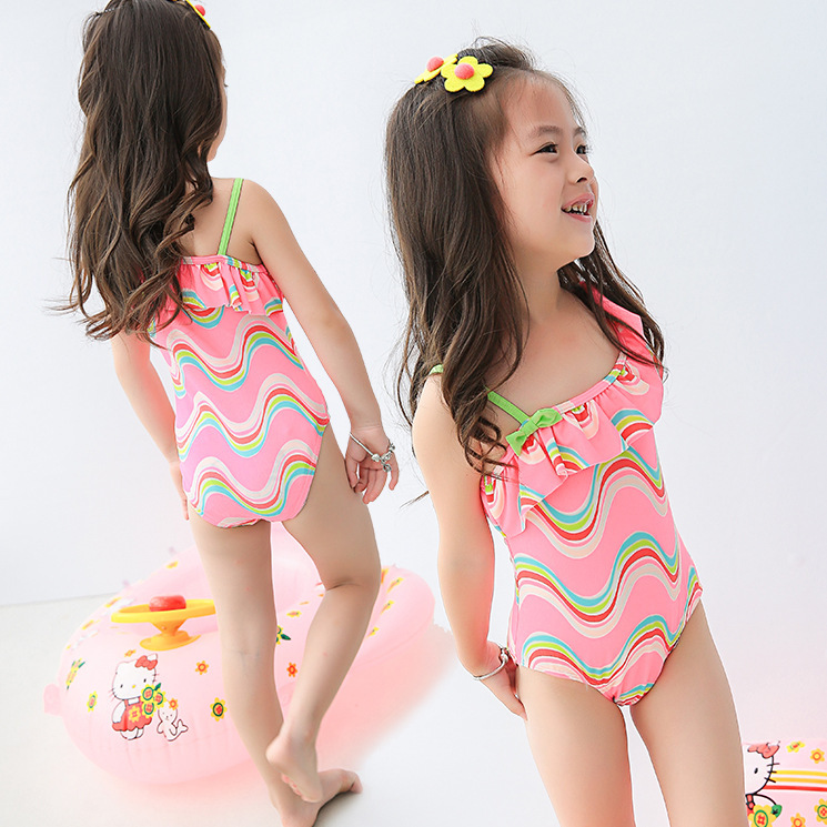 Retail cute wave stripe girls bathing Suits 2016 new child ...