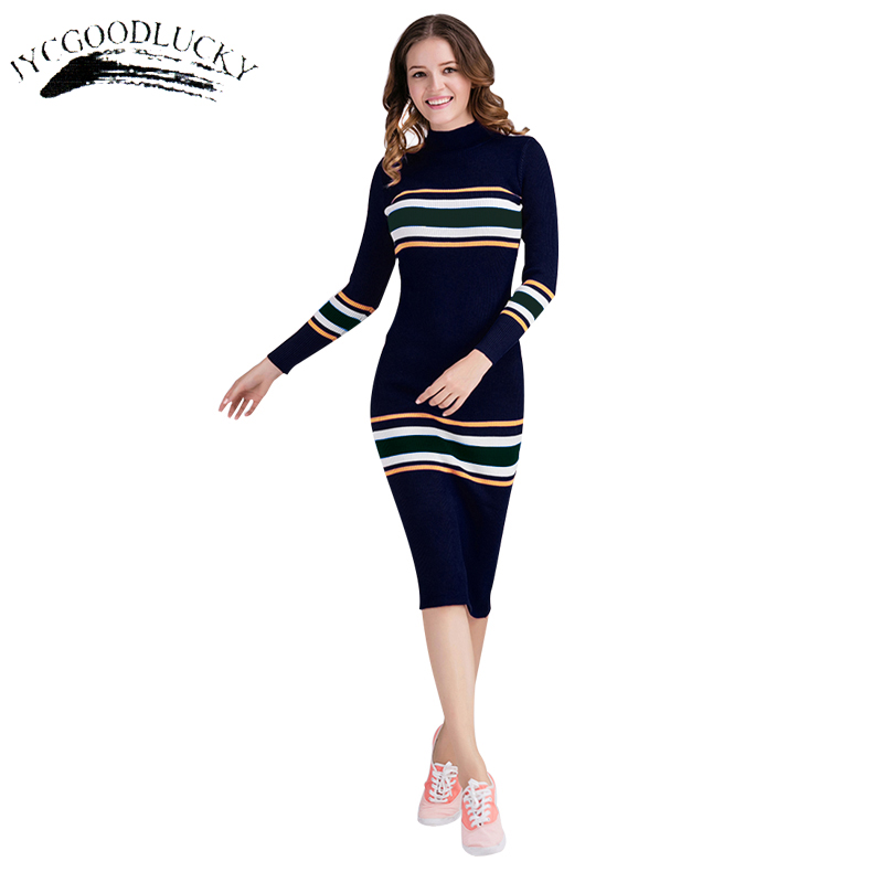 Knitted Sweater Turtleneck Dresses Women Winter Vestidos 2017 Fashion Slim Striped Bodycon Dress Female Package Hip Sexy Dresses