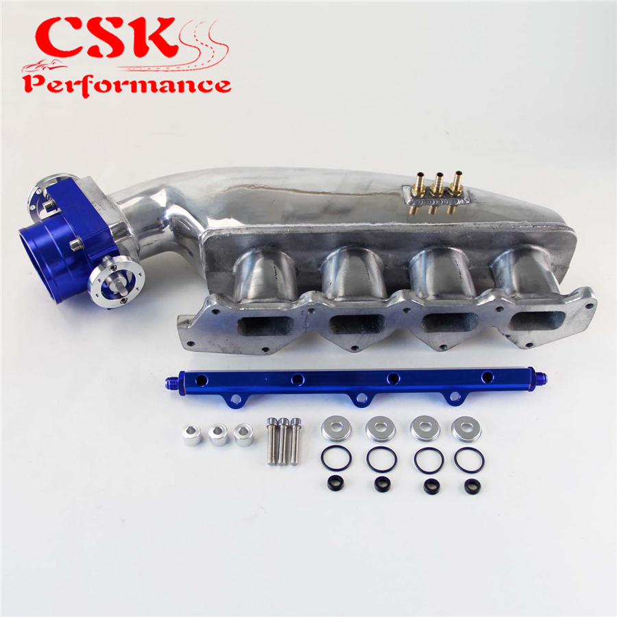Intake Manifold & Fuel Rail &80mm Throttle Body for Mitsubishi EVO 1 2 3 4G63 engine swap turbo intake manifold for mitsubishi evo 4 9 4g63 high performance polished it5934