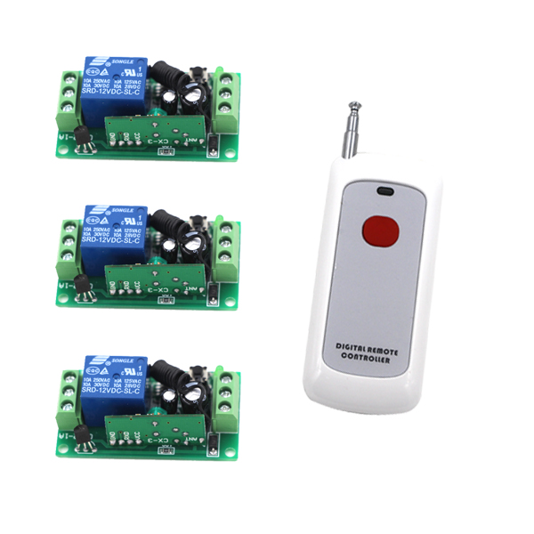 New DC9V/12V/24V RF Wireless Remote Control Remote Receiver System (1 Transmitter and 3 Receivers) with High Quality 2 receivers 60 buzzers wireless restaurant buzzer caller table call calling button waiter pager system