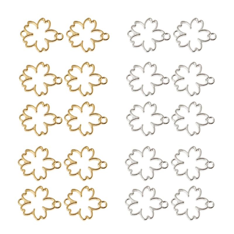 10Pcs DIY Cherry Flower Frame Pendant Open Bezel Setting UV Resin Jewelry Making in Jewelry Tools Equipments from Jewelry Accessories