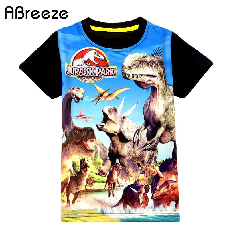 2018 New summer children tees boys 3Y 9Y dinosaurio y Spider-Man style boys camisetas Camisetas clásicas de animal / héroe tops cortos para chicos