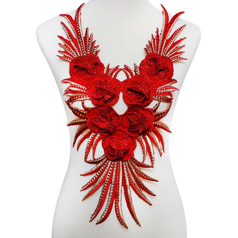 ᐅ5 pieza rojo 3D moldeado Diamantes con piedras falsas Encaje ...