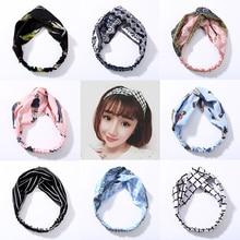 Fashion Girls Shivering Stretchy Hairband Women Striped Chiffon Cross Turban Cotton Bowknot Headbands Hair Accessories