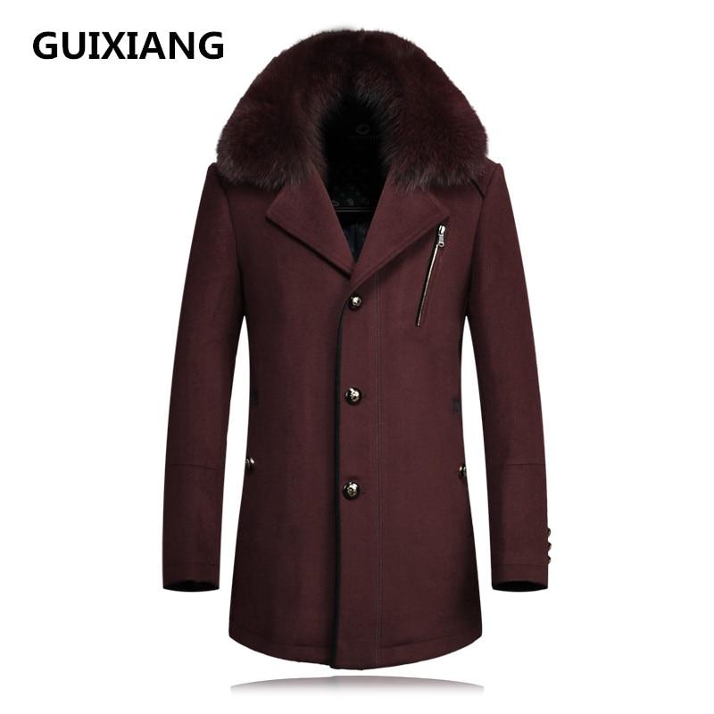 2019 autumn new Men's woolen jackets trench coat Men Real fox fur collars windbreaker woolen overcoat full size M-4XL