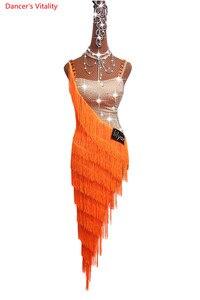 Image 5 - Женское платье для латиноамериканских танцев, роскошное платье на бретельках с бахромой и стразами, одежда для выступлений и соревнований