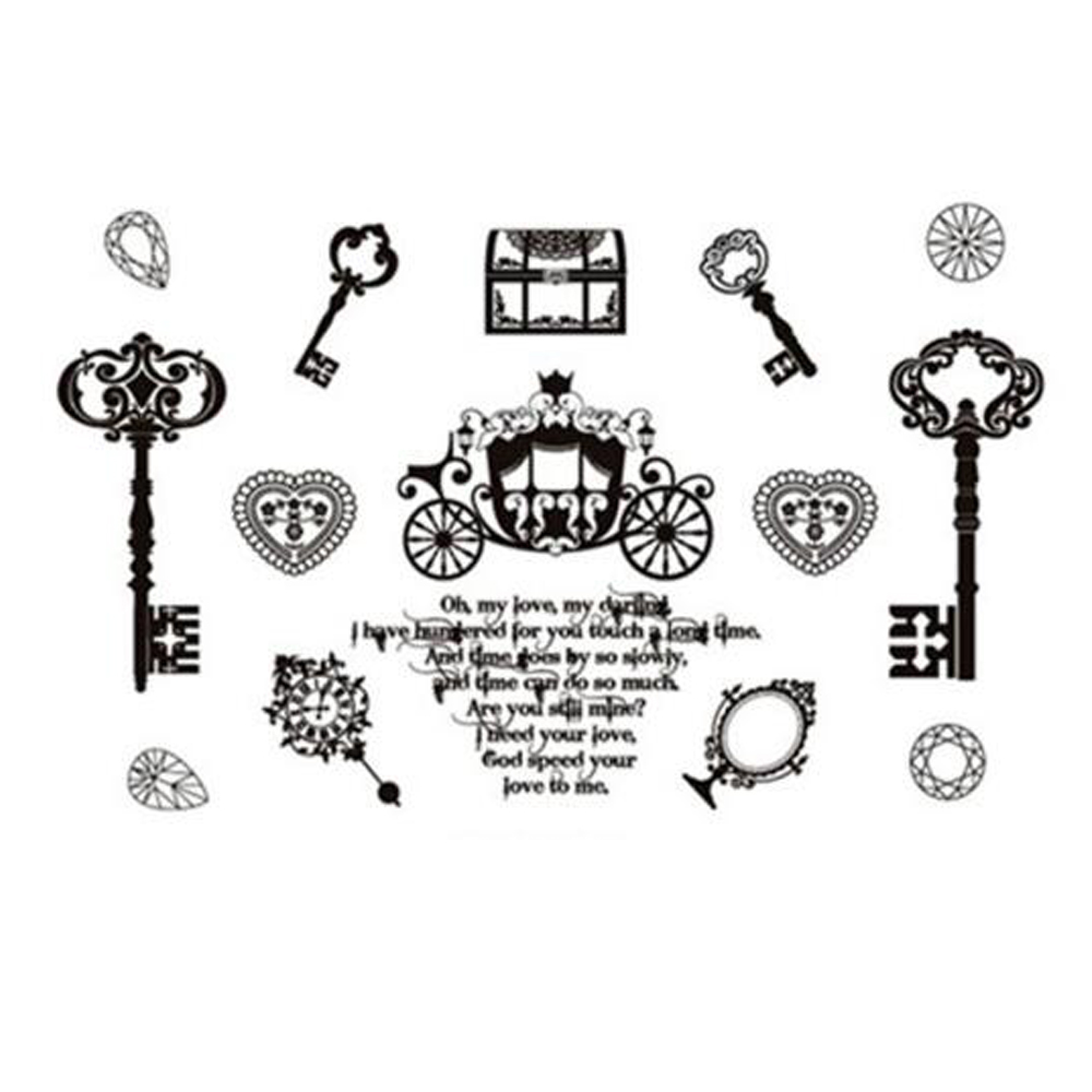 Yeeech Temporary Tattoos Sticker for Women Fake Key Treasure Carriage Circle Heart Mirror Word Design Sexy Hand Face Arm Leg Art
