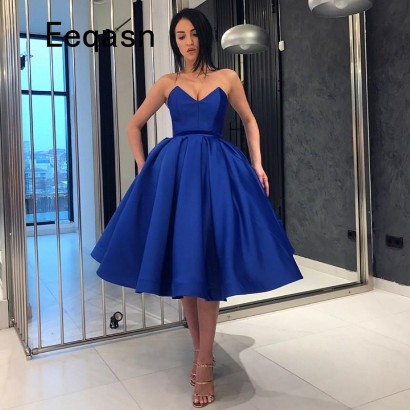 e54445e3b5ab9 Sexy Royal Blue Short Cocktail Dresses Off Shoulder Backless Formal Party  Dress Prom Gowns Robe De Cocktail Cheap