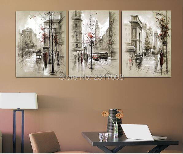 Home Decor Canvas Painting Abstract City Street Landscape Decorative ...