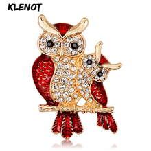 Rhinestone Owl Pins and Brooches For Women Couple Metal Enamel Crystal Bird Branch Brooch Wedding Love Jewelry Mothers Day Gift