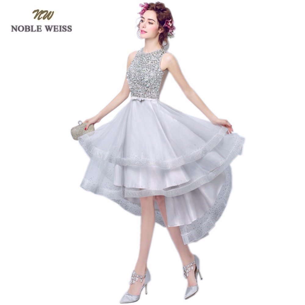 NOBLE WEISS High Low Prom Party Dresses Beading Vestido de Festa O Neck Sexy Gray Tulle