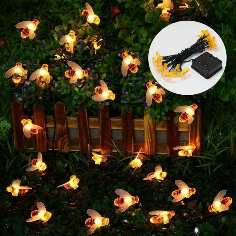 20 50 LED Honey Bee Solar Led String Fairy Lights Waterproof Outdoor Garden Fence Summer Patio Christmas Garland Night lamp