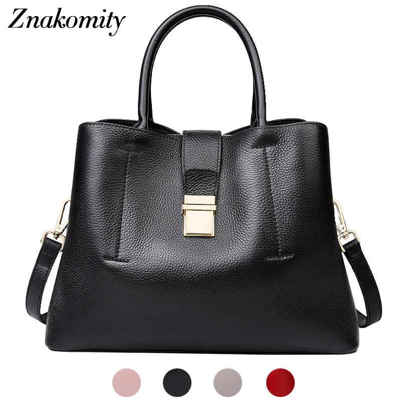 Znakomity Black women handbag genuine leather tote bag shoulder bag women red Fashion simple big casual hand bag woman luxury znakomity new shoulder bag real women s genuine leather handbag wine red fashion brown black tote bag top handle hand bags women
