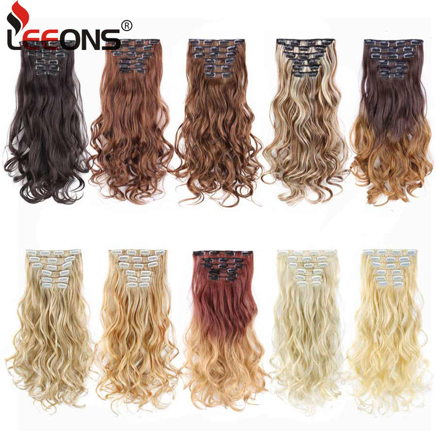 "Leeons 16 Clips In Hair Extension Body Wave 22"" Hair Extension Clip For Women Synthetic Hair Extensions Brown 613# Ombre Color"