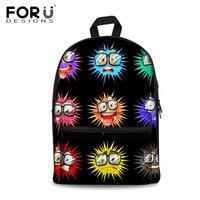 FORUDESIGNS Women Canvas Backpack Black Bolsas Mochila Feminina Girls School Bagpack Bags Travel Bag Large Capacity Rucksack