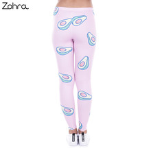 Fashion Printed Women Legging 100% Brand New Leggings Avocado Pink Leggins Sexy Slim Legins High Waist Women Pants
