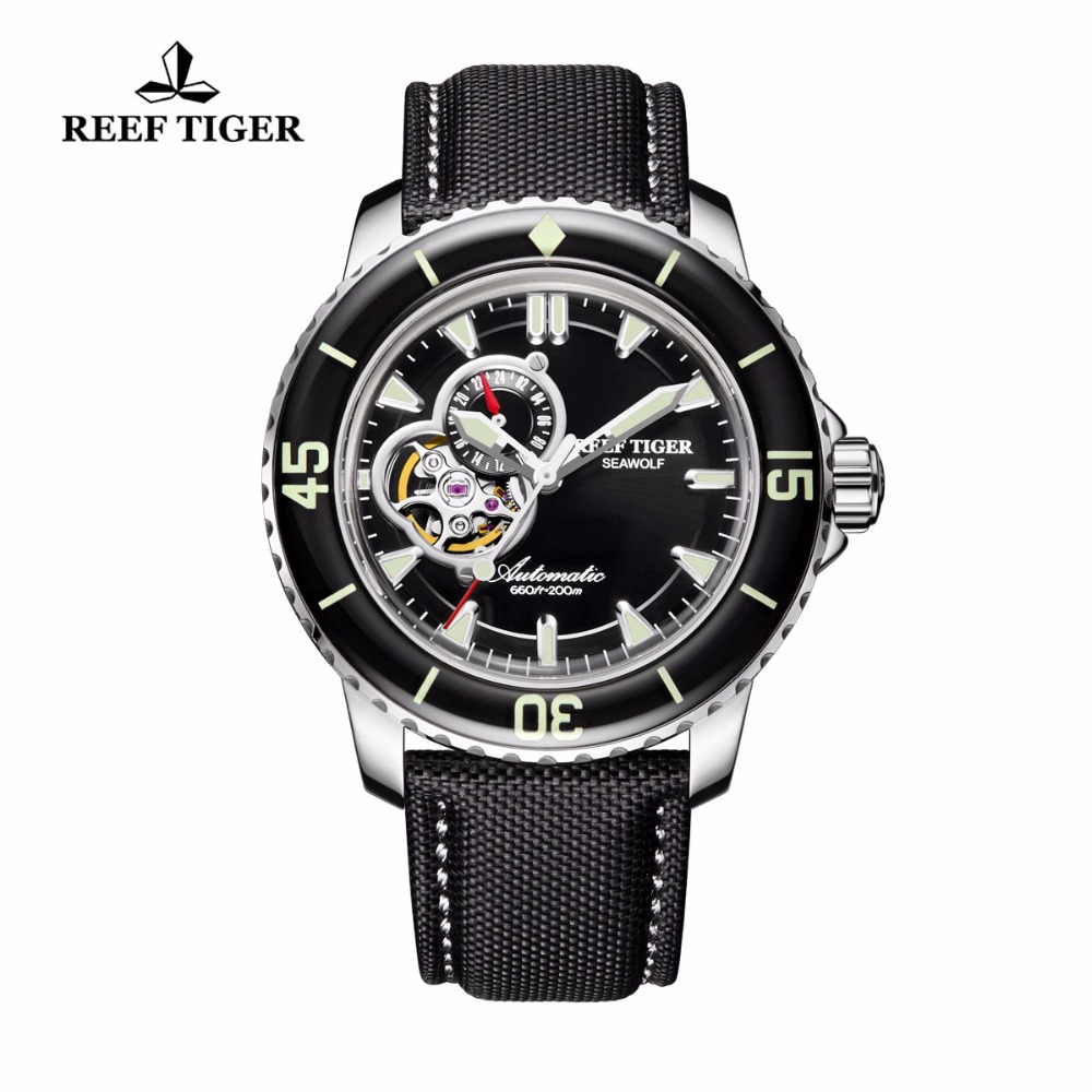 Reef Tiger/RT Super Luminous Dive Watches for Men Nylon Strap Stainless Steel Watches with Date RGA3039Reef Tiger/RT Super Luminous Dive Watches for Men Nylon Strap Stainless Steel Watches with Date RGA3039
