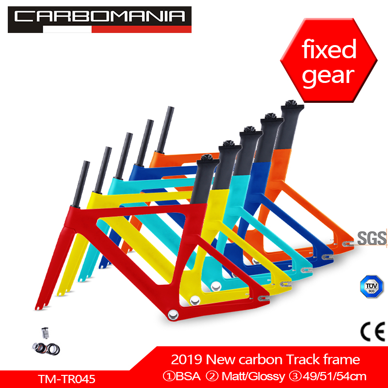 2019 New Full Carbon Track Frame Carbon Track Bike Frameset With Fork Seatpost Road Carbon Frames Fixed Gear Bike Frameset