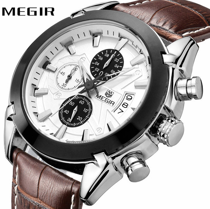 <font><b>MEGIR</b></font> Top Brand Luxury Watches Men Genuine Leather Strap 3D Design Multifunction Chronograph Dial Military Fashion Wristwatch image