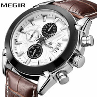 MEGIR Top Brand Luxury Watches Men Genuine Leather Strap 3D Design Multifunction Chronograph Dial Military Fashion Wristwatch