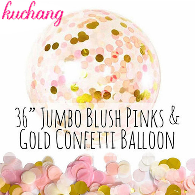 Confetti Balloons 36Inch Transparent Latex With Pink White Gold For Wedding Party Birthday Decorations Rose Balloo