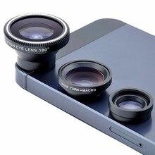 2018 new Fish eye lens 3 in 1 universal mobile phone camera lenses wide+macro+fi