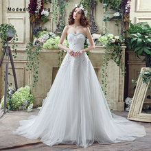 Sexy White A-Line Sweetheart Lace Beaded Wedding Dresses 2017 Formal Women Long Church Bridal Gowns robe de mariee Custom Made