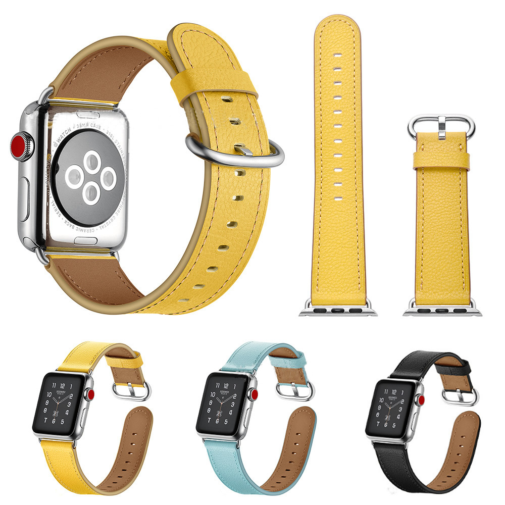 38-42mm Watch Strap For Apple Smart Watch Lovely Color Genuine Leather Wrist Band For Apple Watch Band Series 1 2 3 iWatch Belt luxury ladies watch strap for apple watch series 1 2 3 wrist band hand made by crystal bracelet for apple watch series iwatch