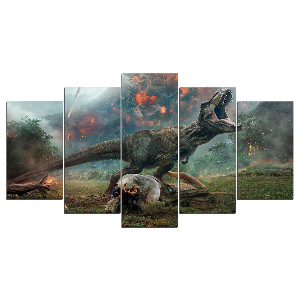 HD Printed 5 Piece Canvas Art Jurassic World 2 Volcanic Eruptions Canvas Prints Dinosaur Wall Pictures For Kids Room Decoration 1