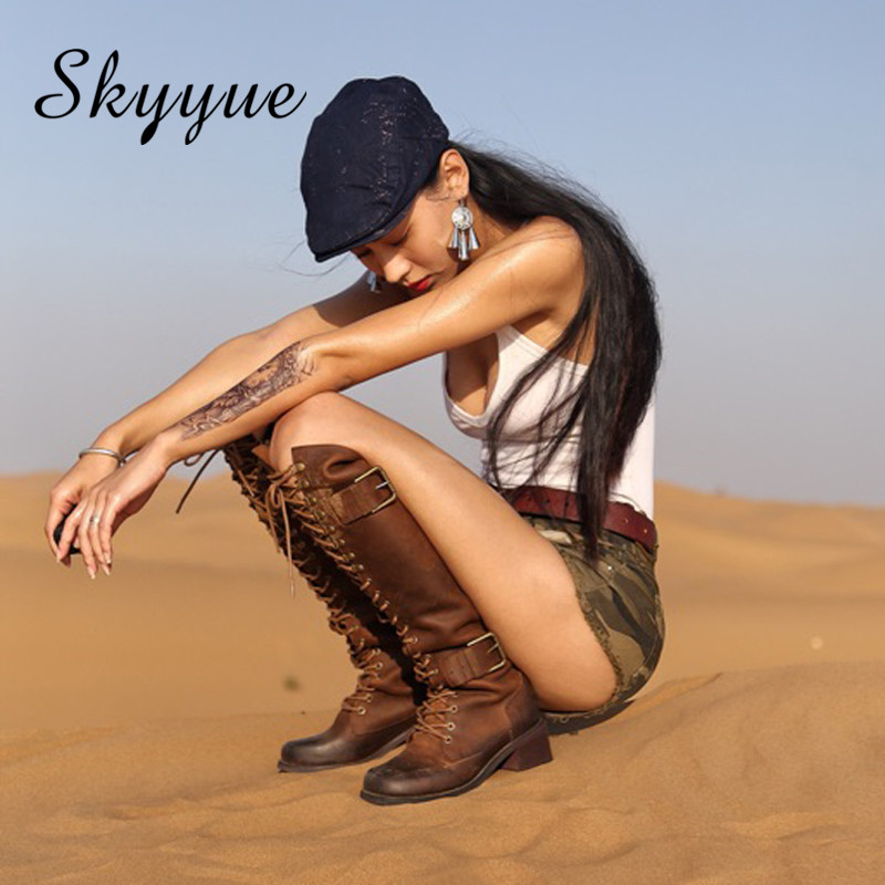 Skyyue 2018 New Genuine Leather Tan Rome Gladiator Lace Up Women Winter Boots Round Toe Thick Heel Motorcycle Boots Shoes Women new arrival genuine leather rivets thick heel round toe metal decoration women ankle boots handsome motorcycle winter boots l50