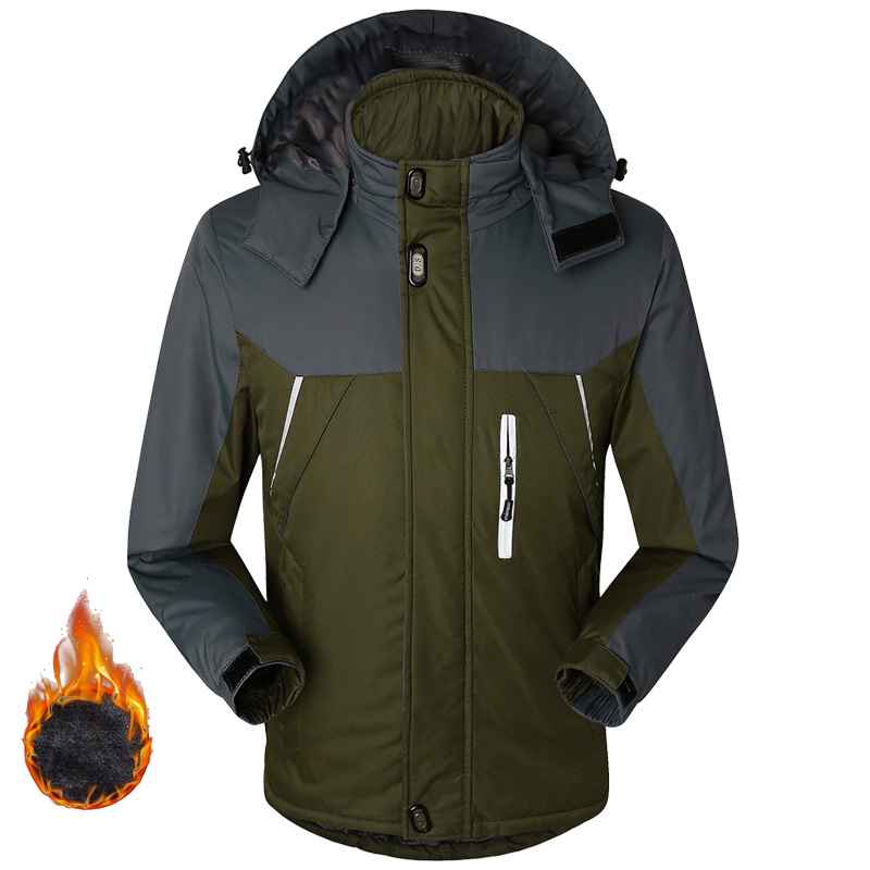 Winter Down Jacket Men Thick Velvet Warm Coat Male Windproof Hooded Jackets Outwear Casual Mountaineering Overcoat Plus Size 5XL