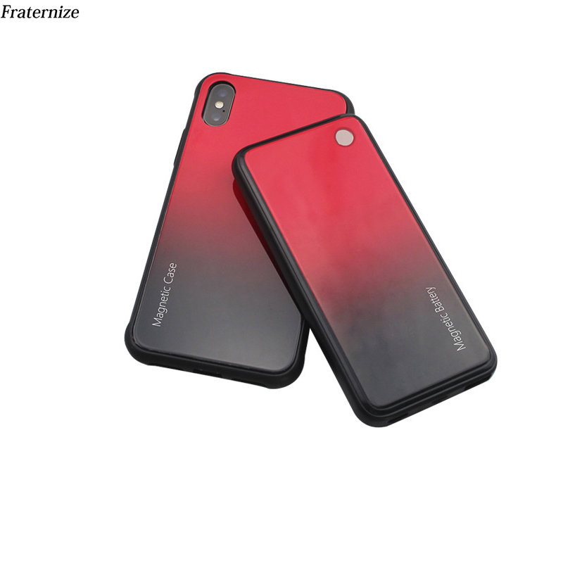 Slim Tempered glass battery Charger Case For iPhone XR X