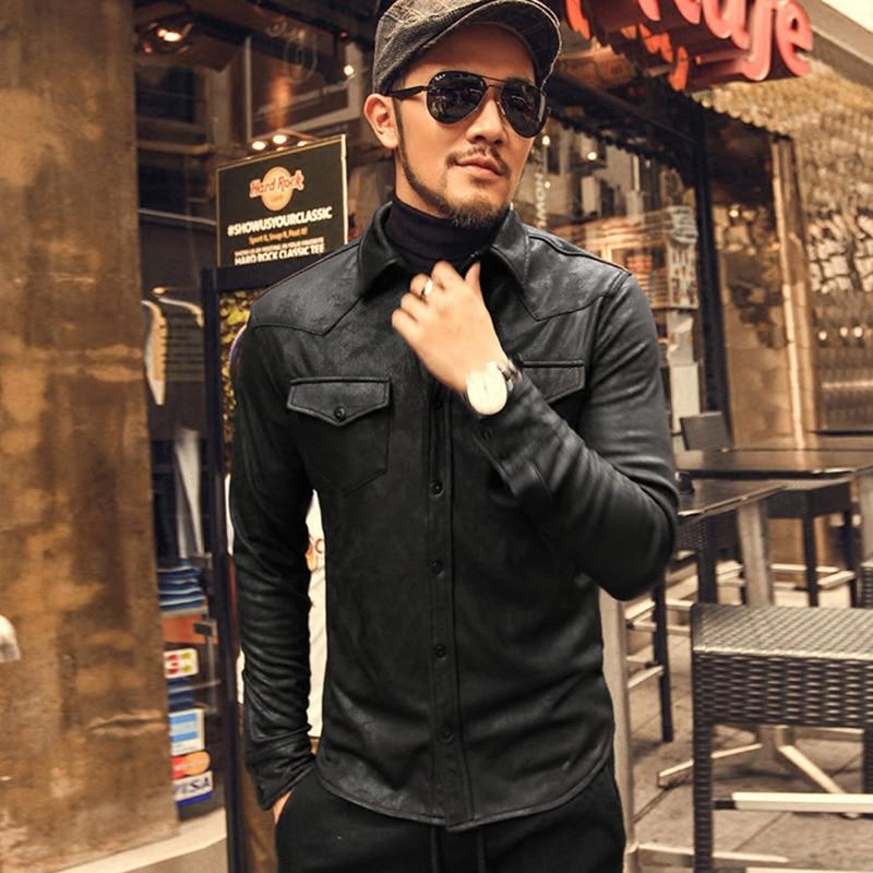 Leather Shirts Men high Quality black shirt  1