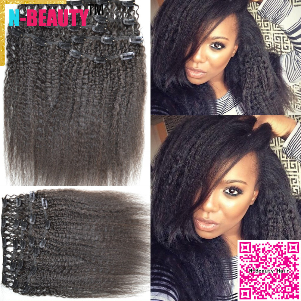 African American Coarse Yaki Clip in Human Hair Wefts 8A Peruvian Virgin Hair Clip in extension Kinky Straight Clip-in Weaves
