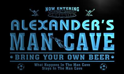 x0141-tm Alexanders Man Cave Soccer Bar Custom Personalized Name Neon Sign Wholesale Dropshipping On/Off Switch 7 Colors DHL