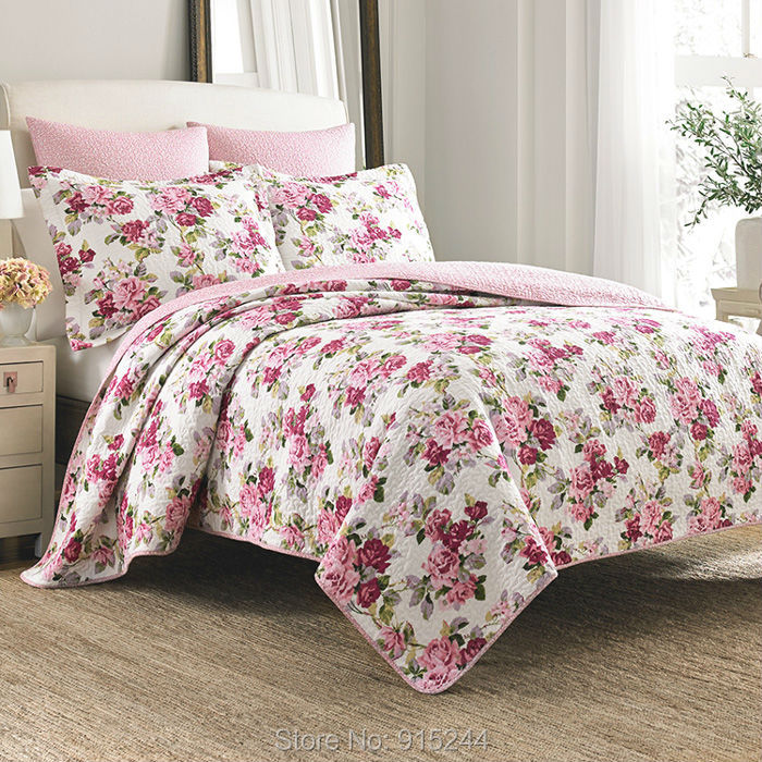 High quality 100% water wash cotton quilting quilts lux <font><b>bed</b></font> cover flower cool <font><b>bed</b></font> sheet embroider bedspread 3pcs set king size