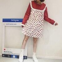 Harajuku милые клубники печатных Kawaii платье белый/красный лук плед с длинными рукавами Лолита платье кружева лоскутное А силуэт мини платья