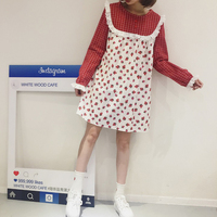 Harajuku Lovely Strawberry Printed Kawaii Dress White/Red Bow Plaid Long Sleeved Lolita Dress Lace Patchwork A line Mini Dresses
